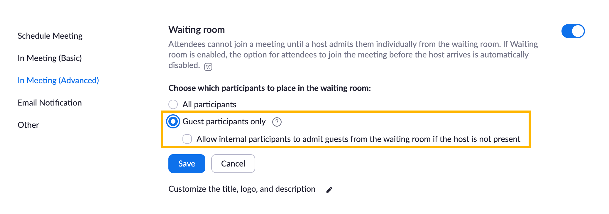 Zoom waiting room guests