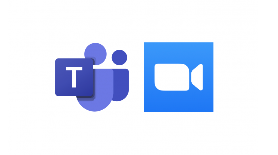 Image of Microsoft Teams and Zoom logos