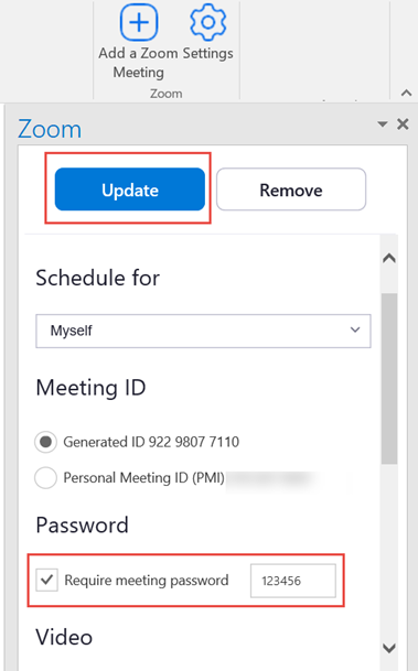 Image of Zoom plug-in under the advanced options section to enable passwords