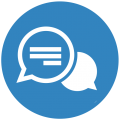 Blue icon with two chat bubbles