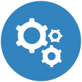 Blue icon displaying three gears